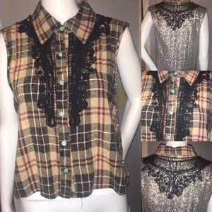Sleeveless Sequins Plaid Shirt Size M